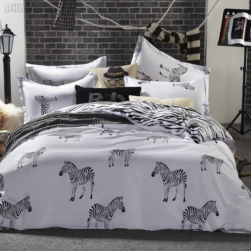 Modern White Zebra Printed Bedding Set Cotton Bed Linens Duvet Cover Set with Flat Sheet Pillowcases Queen King Size Bed Set