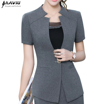 2017 Fashion women Gray blazer Business New summer formal V Neck short sleeve jackets office ladies plus size work wear black