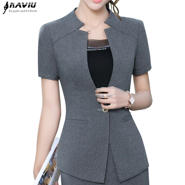 High quality blazer women New summer formal fashion V Neck short sleeve jackets office ladies plus size work wear