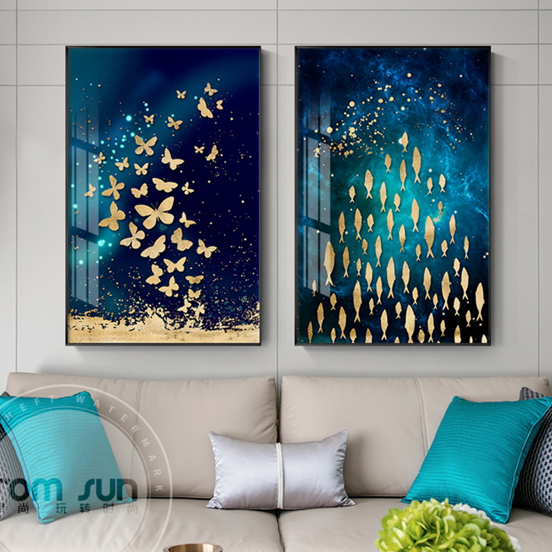 Us 2 56 36 Off Modern Flewing Bird Erfly Fish Landscape Poster And Print Abstract Wall Art Painting For Living Room Aisle Unique Home Decor In