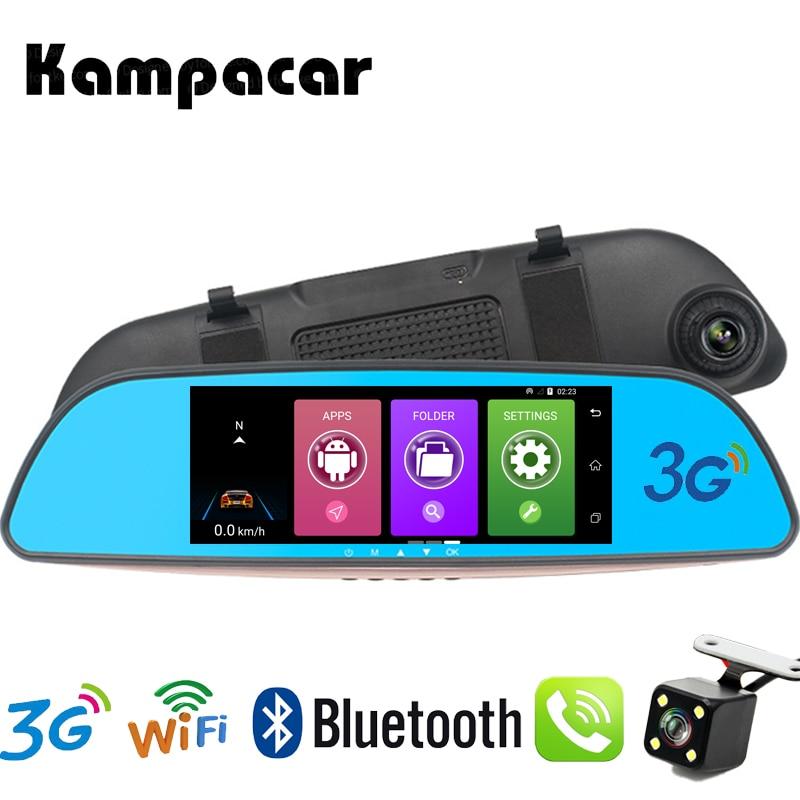 Kampacar GPS Car Navigator Video Registrator 3G Android Navigation With Camera Car Dvr Rearview Mirror Drive Recorder 2 Dash Cam комплект sapsan 3g cam 2 камеры уличное исполнение 00006614