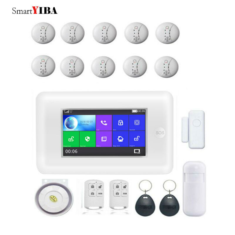 SmartYIBA All Touch Screen Alexa Version 433MHz GSM WIFI Smart Home Security Monitor Burglar Alarm System Wireless Smoke Alarm