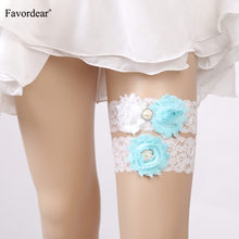 Favordear White Lace Three Flowers Wedding Garter with Beading 2 PC Elastic Band Fashion Leg Ring Bridal Garter for Women/Bride(China)