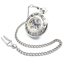 CAIFU Brand Skeleton Steampunk Big Dial Hand Wind Mechanical Pocket Watch Roman Number Dial Silver Tone Case Open Face Watch New