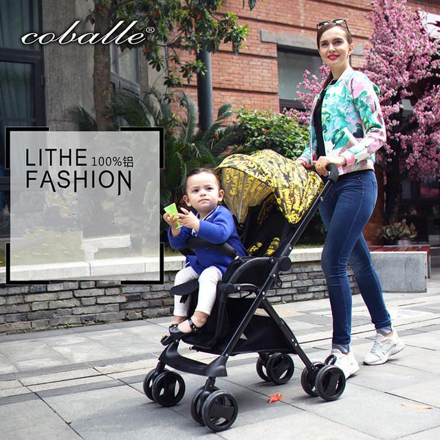 2016 Coballe Novo Design Dobrável Luxo Hight Qualidade Do Bebê Carrinho De Criança, quatro Rodas Único Assento