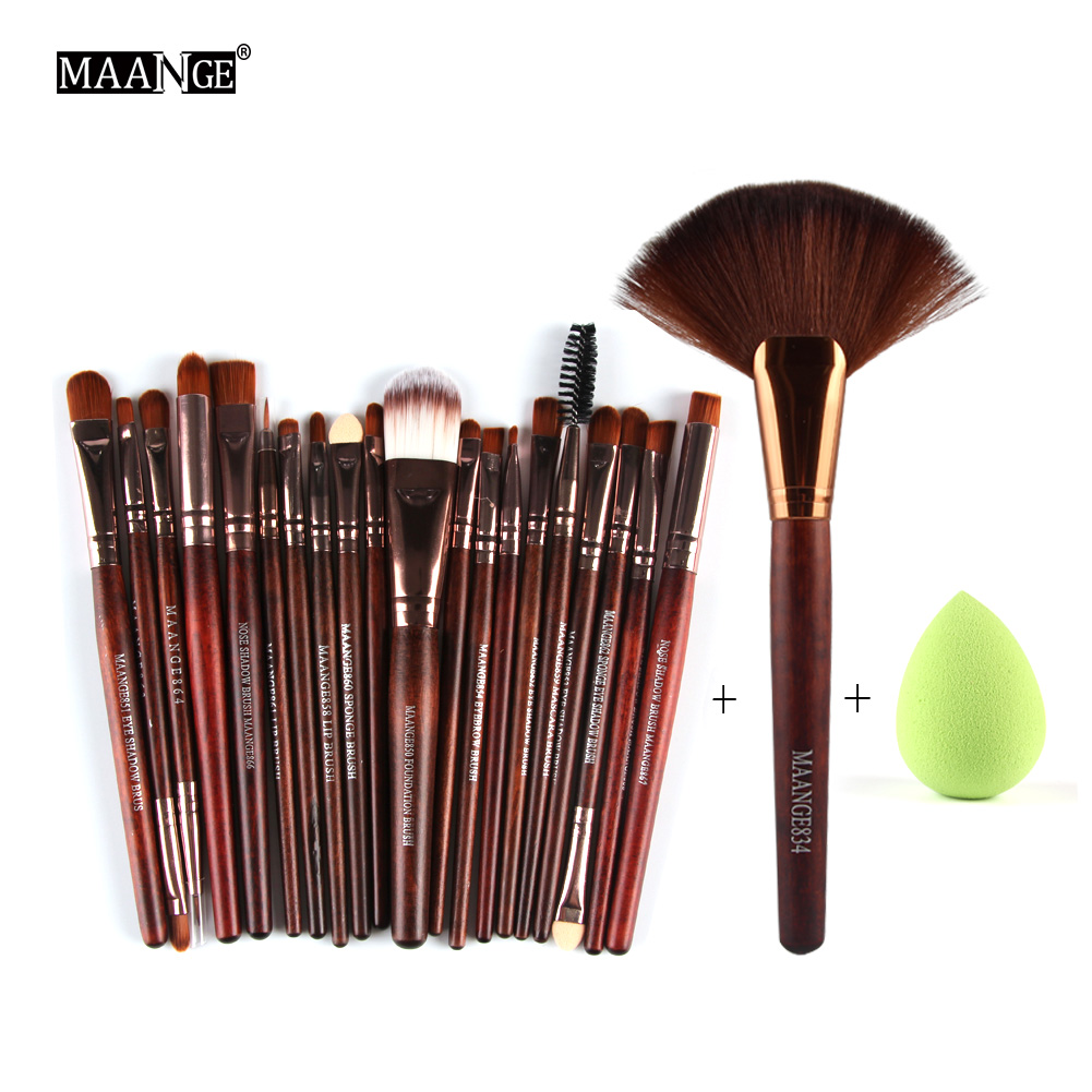 MAANGE 22Pcs Pro Foundation Powder Eyeliner Eyeshadow Lip Facial Makeup Brushes Set Sponge Puff Fan Brush Cosmetic Beauty Tools candy color calabash shaped cosmetic makeup cotton pads sponge puff pink