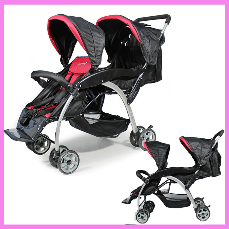 Newborn Lightweight Baby Twin Stroller Double Pram Folding Shock Absorber Cart Double 2 In 1 Stroller Twins Baby Kids Buggy twins stroller double stroller super twins stroller carrier pram buggy leader handcart ems shipping