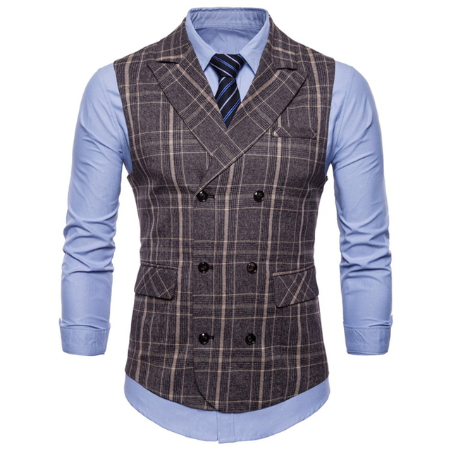2018 Brand Striped Men Doouble Breasted Wedding Suit Vests Fit Men Sleeveless Business Vests No Shirts Dress Vests Autumn 4XL