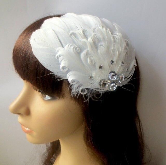 Hecho a mano de novia de la boda accesorios de plumas accesorio del pelo del rhinestone pelo de la novia de plumas accesorio de hadas