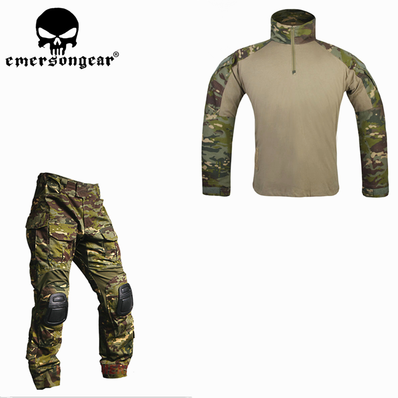 Combat Uniform Hunting Shirt Tactical Pants with Knee Pads Multicam Tropic emerson Gen 3 Hunting Trousers