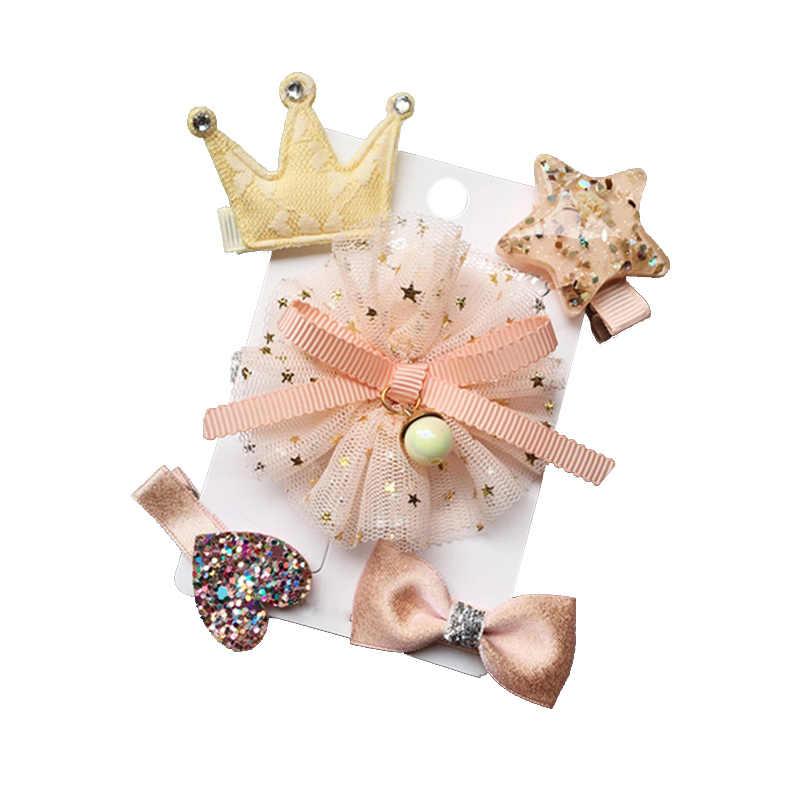 5Pcs//Set Bowknot Baby Hair Clips Crown Hairpins Bows Kids Barrettes Headwear