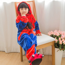 Купить с кэшбэком Winter 2-8y girl boy children flannel conjoined animal pajamas thick Spider-man cartoon child sleepwear set hooded cosplay