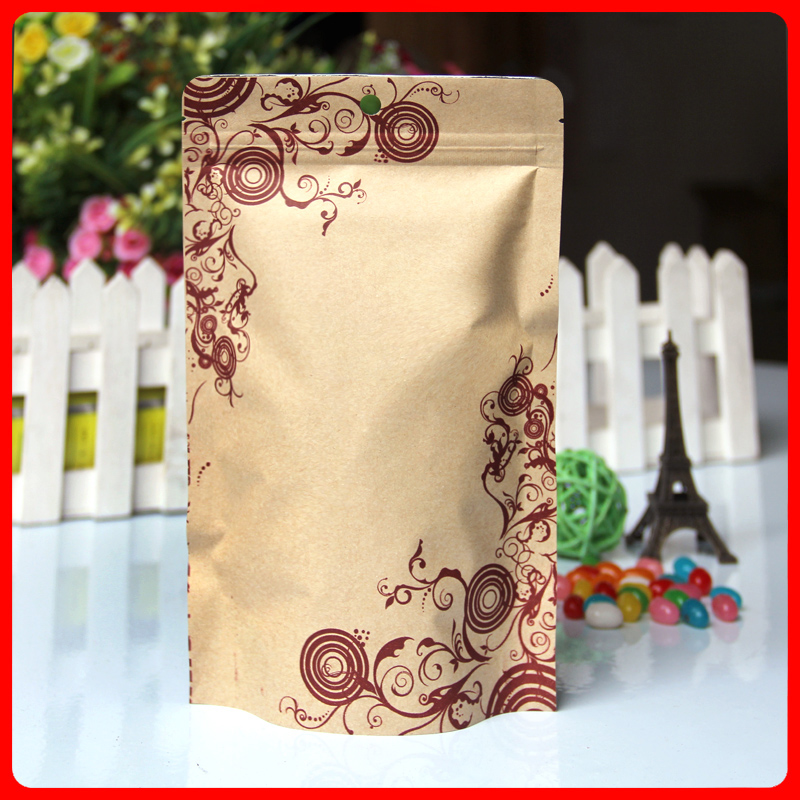 100pcs/lot 16cm*24cm+4cm*140mic Gift Bag High Quality Zip Packaging Bag Kraft Stand Up Pouches Laminated Bags