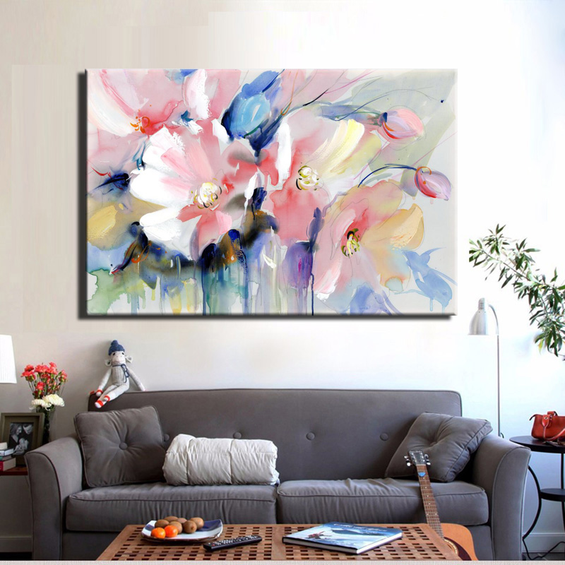 HTB1QYdJk3mTBuNjy1Xbq6yMrVXai Modern Watercolor Flowers Wall Painting Hand Painted Poppy Flowers Print on Canvas Wall Picture For Living Room Home Decor Gift