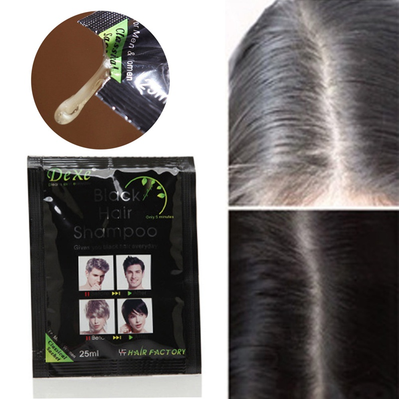 Black hair shampoo in black hair color Only 5minutes Fast Hair Dye Permanent Coloring Cream Building Fibers