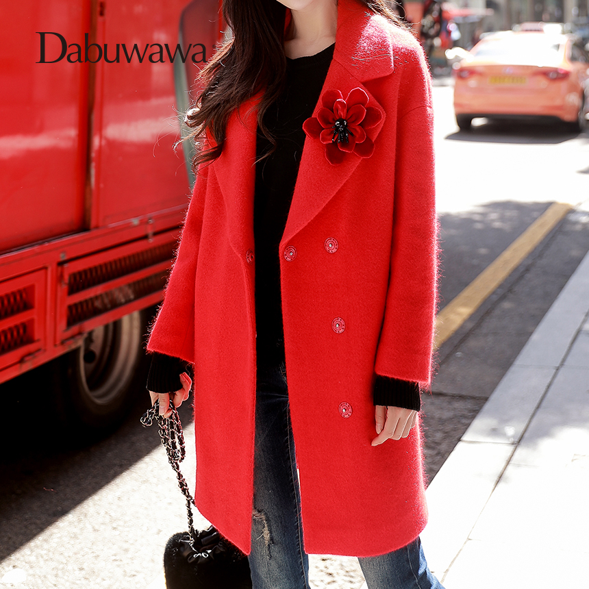 Dabuwawa Red Women Winter Coat Turn-down Collar Floral Appliques Wool Coat Wide-waisted Button Home Long Outerwear Coat