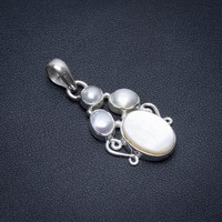 Natural Mother Of Pearl and River Pearl Punk Vintage 925 Sterling Silver Pendant 1 1/2 S1078