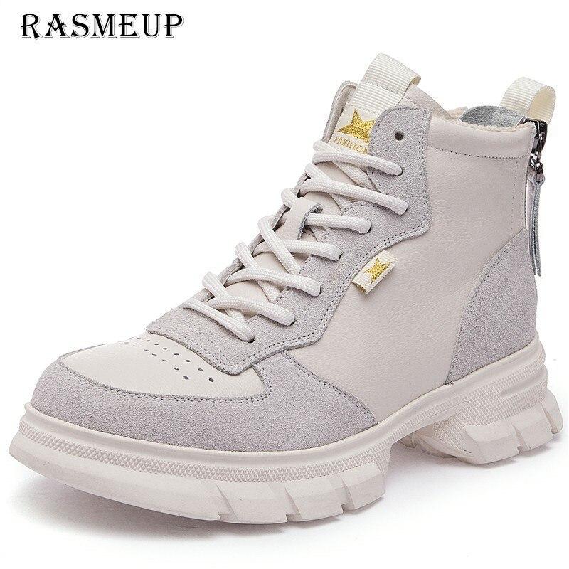 RASMEUP Genuine Leather Breathable Women Platform Martin Boots Comfortable Women s Chunky Sneakers 2019 Brand Zipper