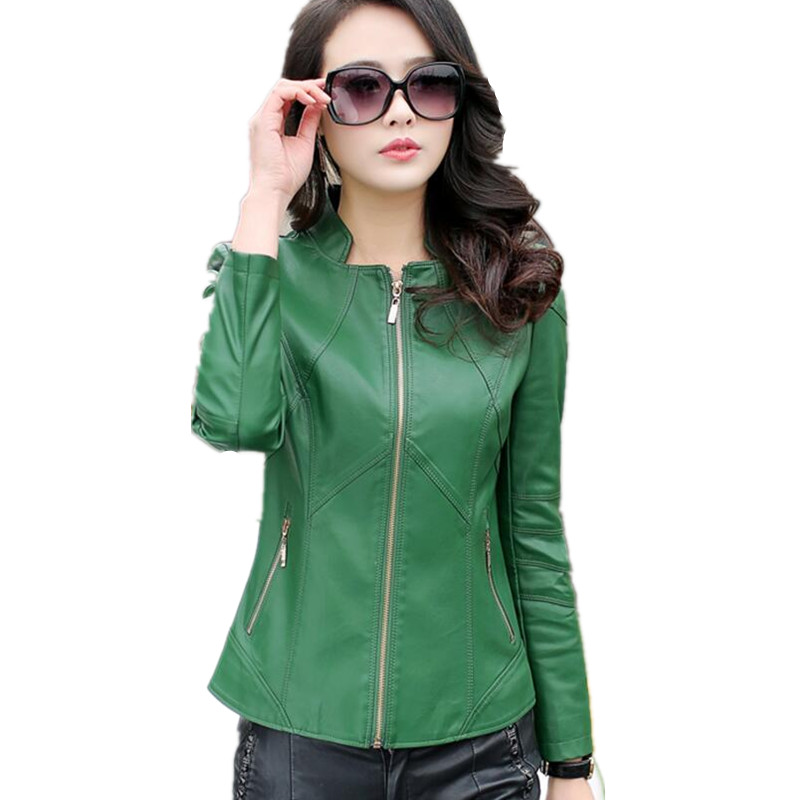 Spring clothing   leather   female short jackets and coats slim women's   leather   jacket plus size S-4XL motorcycle   leather   coat green