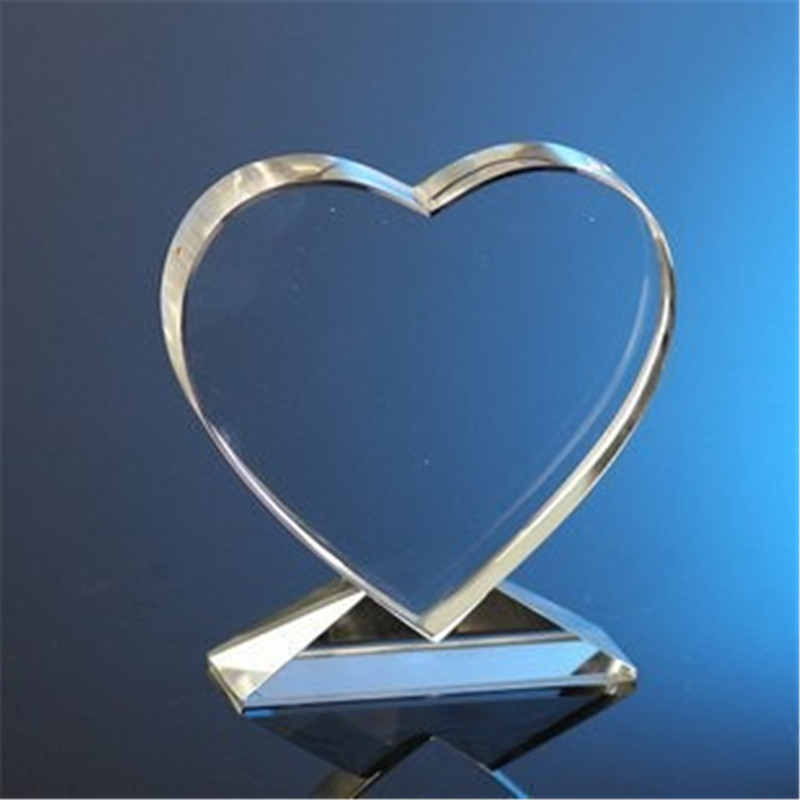 free shipping hot sale K9 crystal heart trophy, plate for laser engraving and decoration, logo OEM trophy