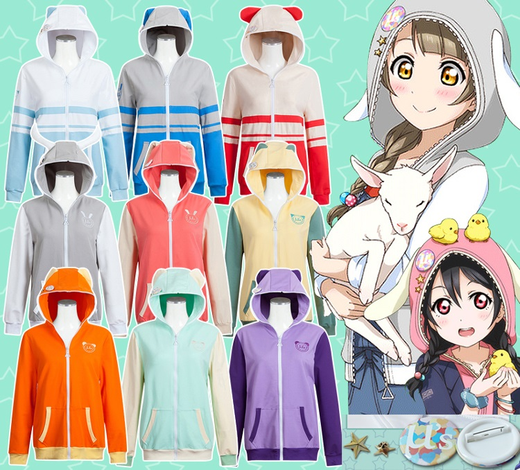 Anime Love Live Cosplay Costume Love Live u's SIF School Idol Festival Zoo Animals Coat Cardigan Jacket Hoodie Unisex Sportswear