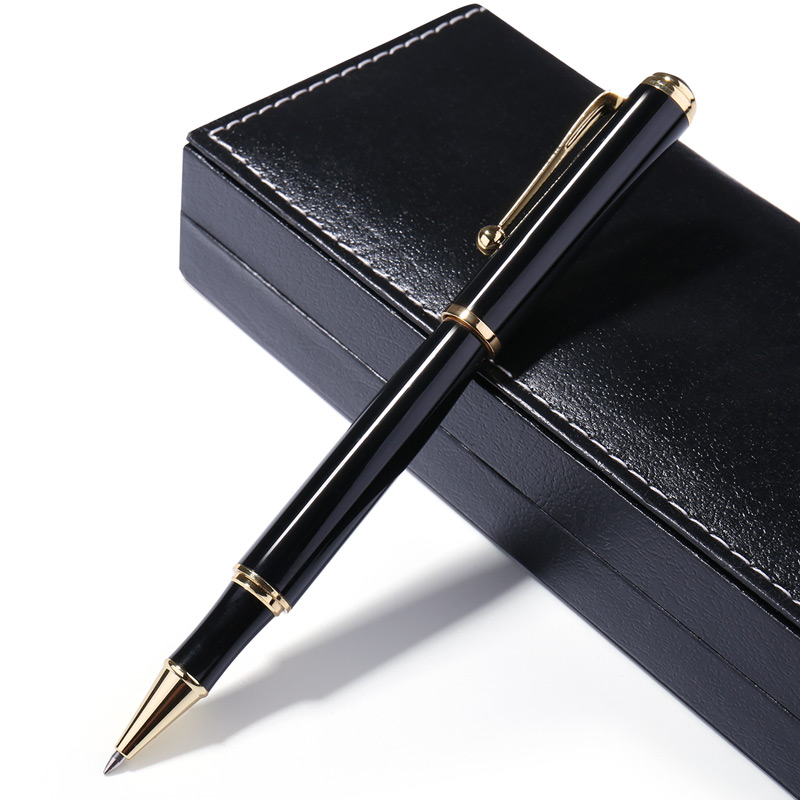 Exquisite Luxury Black Metal Ballpoint Pens For Business Writing Gift Roller Ball Pen 0.5mm School Office Stationery Supplies tercel metal roller ball pens school office supplies creative gel pens luxury chancery gift signature pen writing high grade