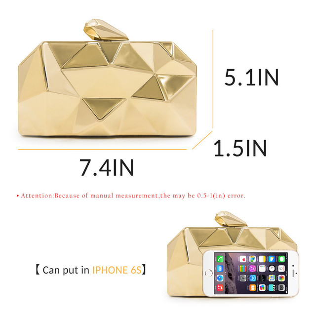 Luxury Hexagon Metal Gold Handbags