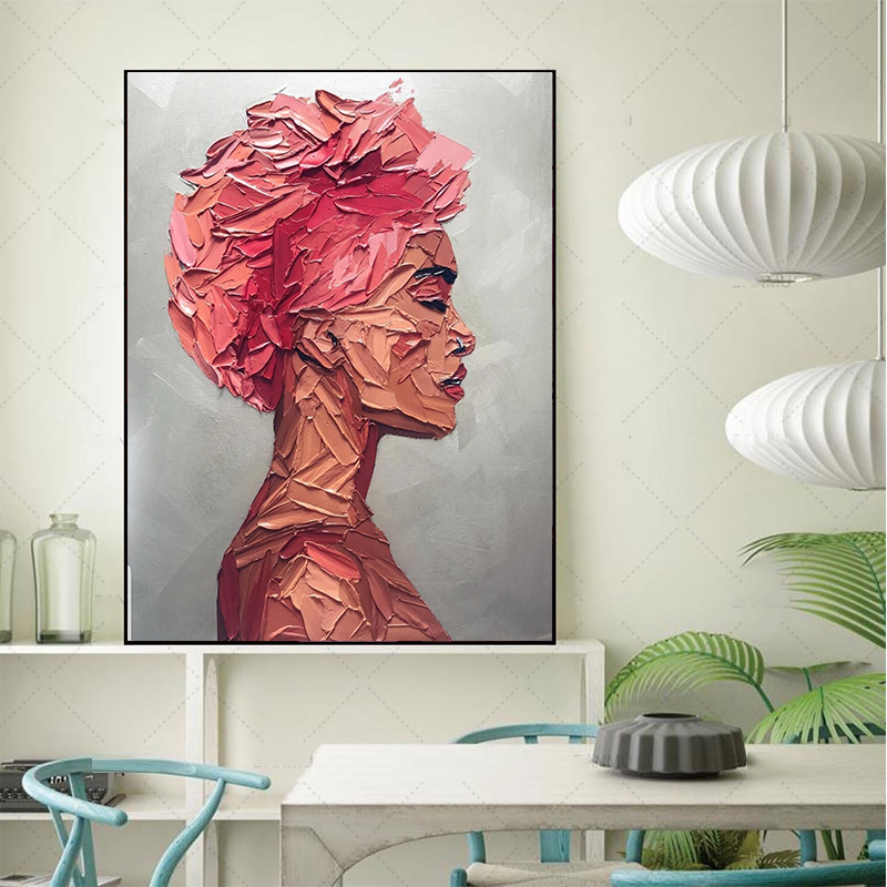 MUTU Portrait Red Woman Oil Painting By HD Printing machine On Canvas Painting Wall Pictures For Living Room Modern Home Decor in Painting Calligraphy from Home Garden