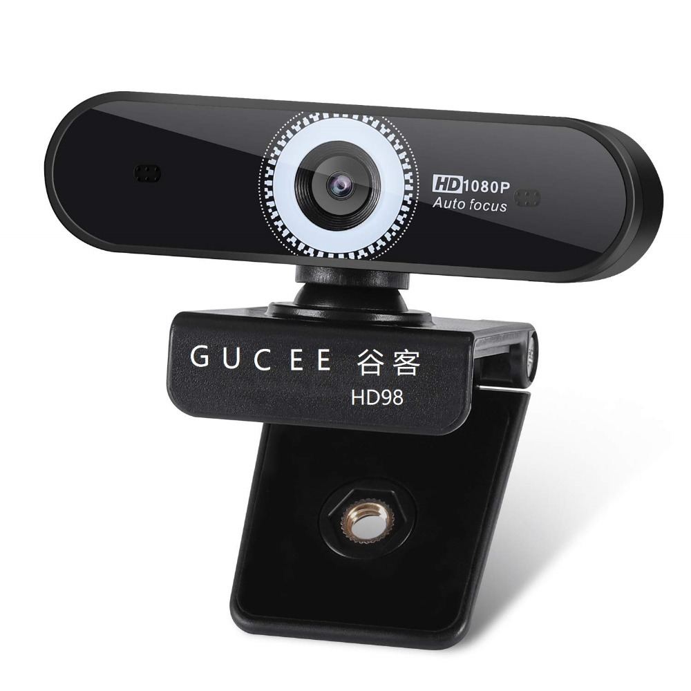 Autofocus webcam 1080 P GUCEE microphone réduction de bruit Skype pour Windows prise USB lecture 10/8/7 Mac OS X autofocus grand angle