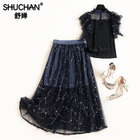 Shuchan 2018 Designer 2 Pieces Set Lolita Style Sleeveless Appliques Tops+skirts Everyday Suits Skirts Woman Fashion 2019 51513