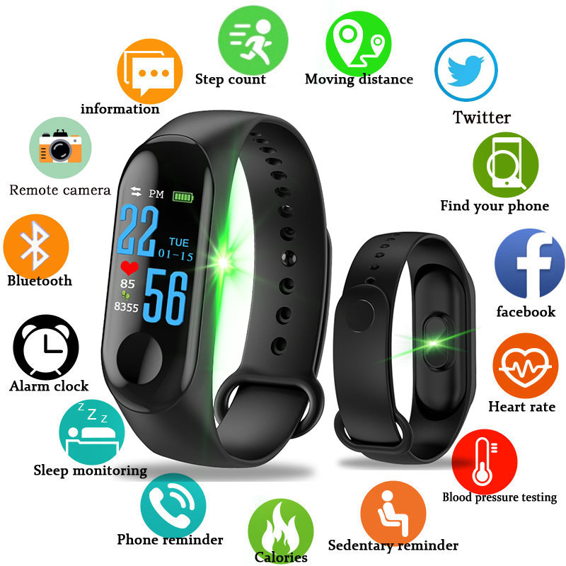 Digital Watches Schnoah Men Women Smartwatch M3s Fitness Watch Blood Pressure Heart Rate Monitor Smart Watch Sport Tracker Pedometer Wristwatch