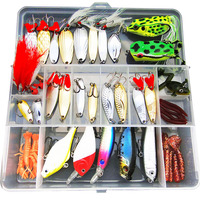 Free shipping 51 pieces lure suit Ray frog Lure soft bait lures fishing bait set freshwater bionic suit with sequins