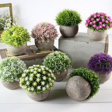 INNO Mini Artificial Plants Plastic Fake Green Colorful Flower Topiary Shrubs With Gray Pot For Home Decor - Set of 3