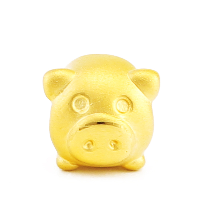 Real 999 24k Yellow Gold Pendant 3D Women Bless Pig Only Pendant 10x9mm