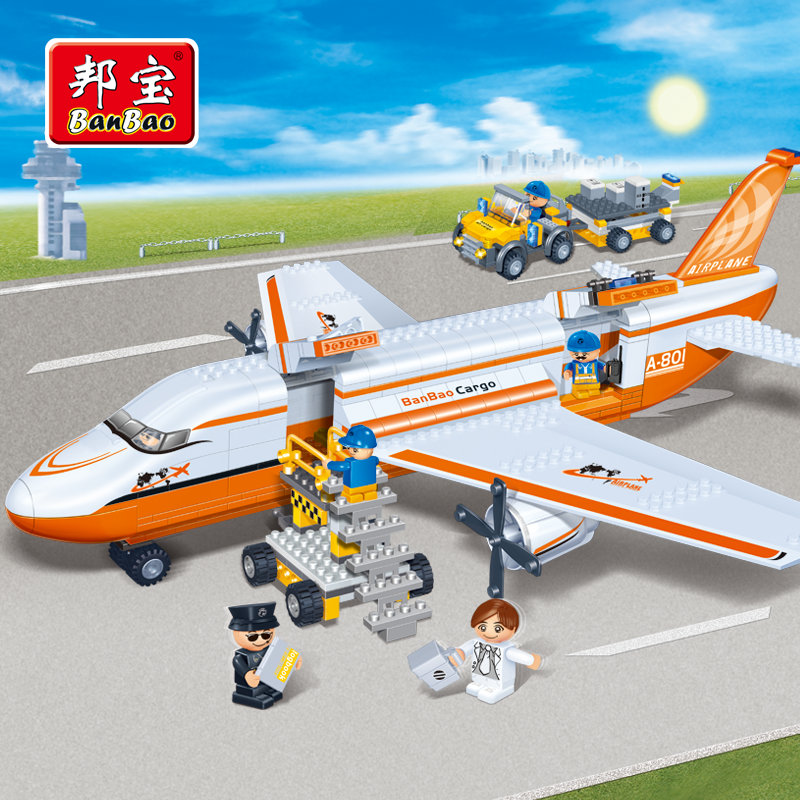 BanBao City Educational Building Blocks Toys For Children Kids Gift Plane Car Airport Transportation Stickers gudi blocks city air plane building blocks international airport compatible legoinglys block educational toys for children gift