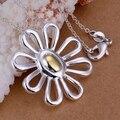 Joyería 925 de la joyería collar cadenas de los colgantes, 925 joyas de plata collar plateado separaciones gran colgante de margarita uyud djjw