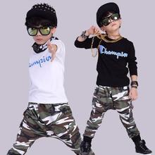 Мода Весна детская одежда набор камуфляж Костюмы дети спорт костюмы лоскутное Хип-Хоп танцевальная брюки и рубашка 3-10 возраст