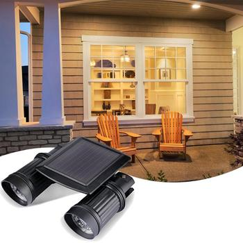 Solar LED Spotlight Dual-head Lamp Outdoor Body Motion Sensor Control Spotlight Garden Doorway Corridor Garage LED Floodlight
