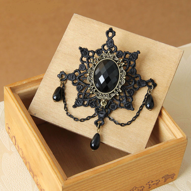 Black Vintage Lace Fabric Brooch With Drop Beads & Gem