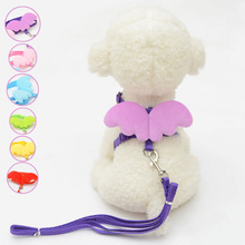 2017 Cute Small Pet Dogs Cats Leashes Collars Set Puppy Leads Angel Wing Design Adjustable Harness Pets Accessories E2S