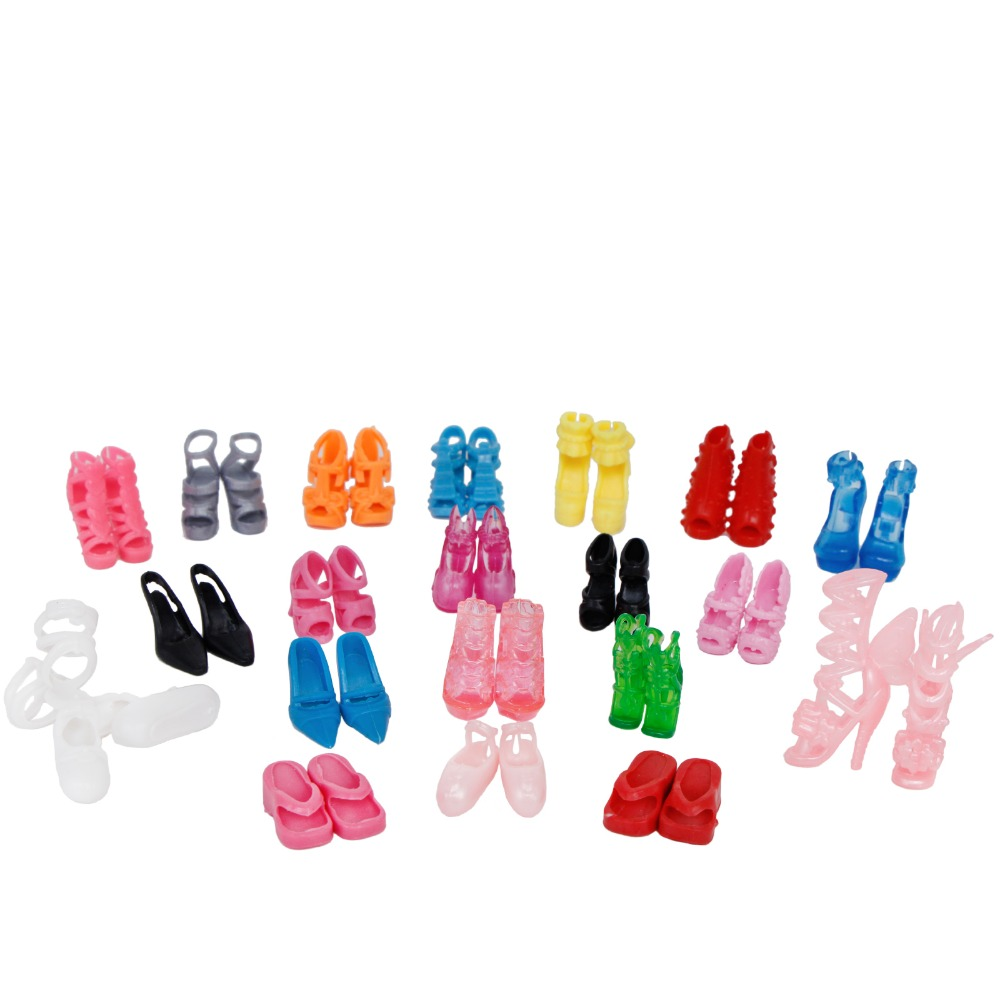 Randomly Picked 10 Pairs Colorful Assorted Fashion Colorful Doll Shoes Heels Sandals For Barbie Dolls Accessories Outfit Dress 1set fashion doll shoes cute colorful assorted shoes high heel sandals for barbie doll outfits dress accessories girls gift