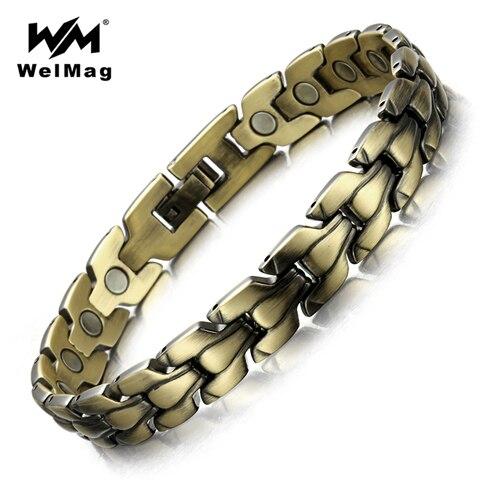 Купить модный популярный бронзовый магнитный браслет для мужчин welmag