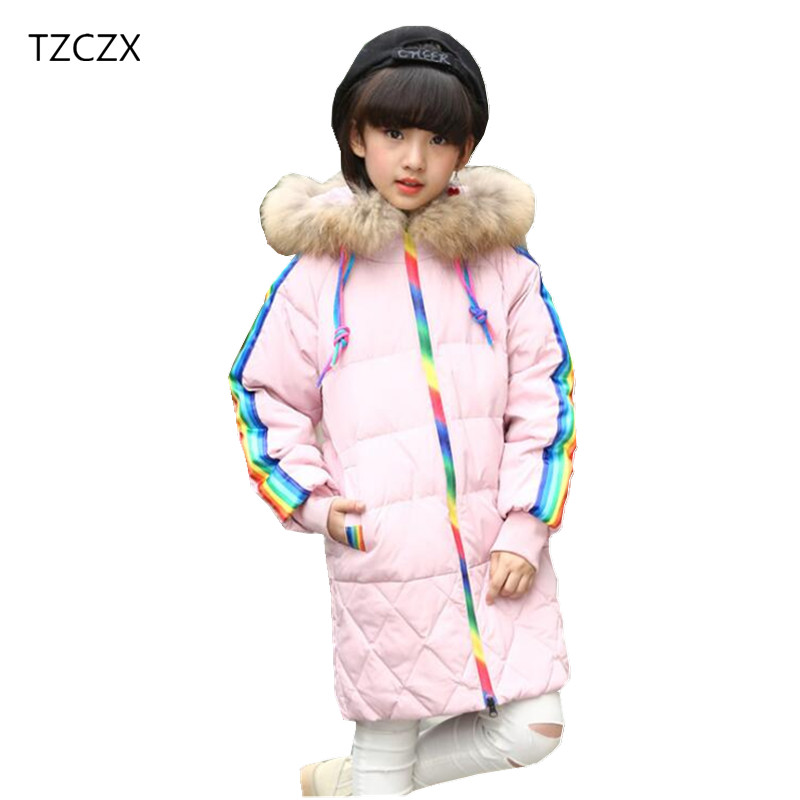 TZCZX 1pcs New Winter Baby Girls Children Fashion White duck down Hooded Long Cotton Coat For 7-14 Years Old Kids Wear Clothes long black girls down coat winter solid 80% white duck down fur hooded fashion pink for 10 12 14 years grils outerwear