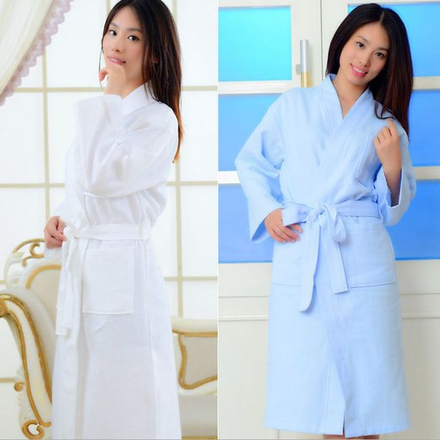 08279a929d Long Robe Bathrobes Women s Solid Color Full Sleeve Waffle Cotton Sleep  Lounge Robes Women Bathrobe Kimono Robe Sleepwear