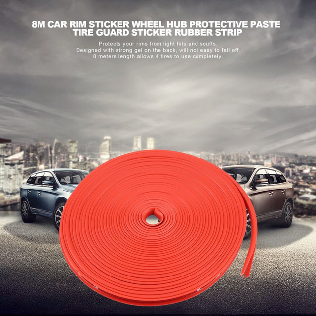 8M Car Rim Sticker Wheel Hub Protective Paste Ring Tire Guard Sticker Rubber Strip Durable Powerful Car Rim Edge Sticker
