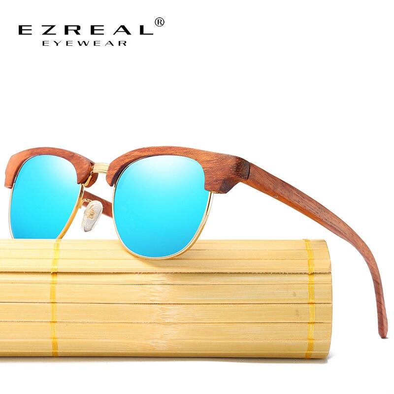 EZREAL Polarizované dřevěné sluneční brýle vrstvené napůl dřevěný rámeček čtvercový styl pro ženy, bambusové brýle, muži v dřevěné krabici