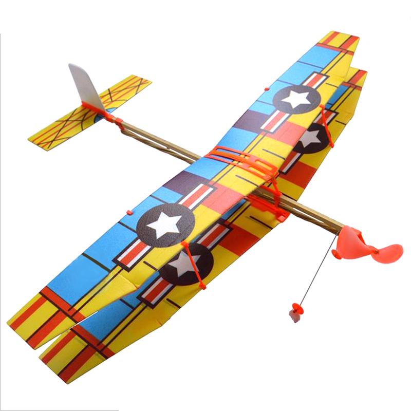 Rubber Band Plane DIY Assembled Helicopter Model Wings Gliding Aircraft Children Puzzle Aircraft Model Stitching Toys image