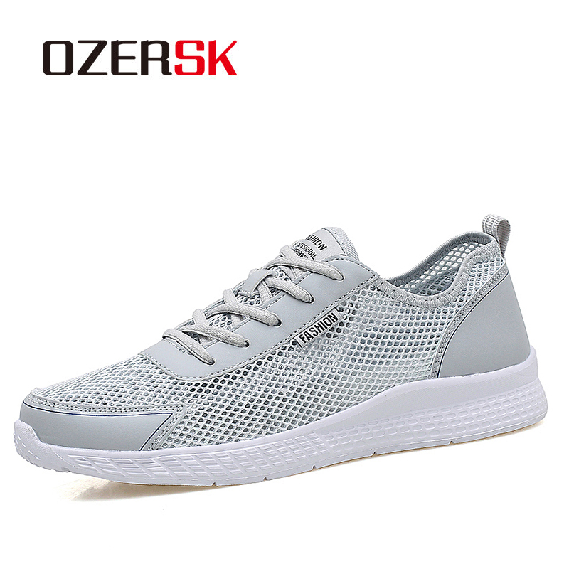 OZERSK Plus Size 38~48 Unisex Casual Shoes Summer Breathable Mesh Men Shoes Outdoor Comfortable Sneakers Men Woman Walking Shoes