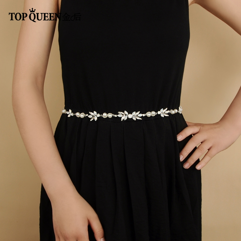 TOPQUEEN SH132 Bridal Belts With Pearls And Rhinestone Wedding Sash Belt For The Bride Wedding Accessories Thin Belts