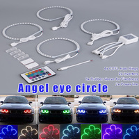 4Pcs RGB 131mm 5050 LED Angel Eye Ring Light with Remote Control for BMW E36 E38 E39 E46 NJ88